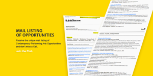 e-performa.net Mail Listing of Contemporary Performing Arts Opportunities